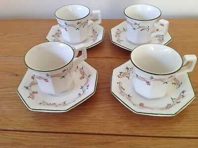 Johnson Brothers Eternal Beau Coffee Cups& Saucers X 4 • 9.50£