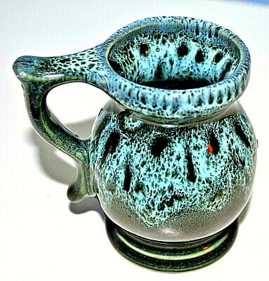 Fosters? Small  Pottery Jug  Green / Grey Splashes • 6.99£