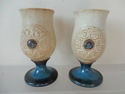 Two Laugharne Welsh Studio Pottery Stoneware Goblets • 7.99£