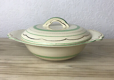 Clarice Cliff Soup Tureen Cream Green & Gold Banding 840076 Deco Vintage • 15£