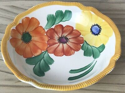 VINTAGE GRAYS POTTERY HAND PAINTED FLOWER DISH BOWL NUTS TRINKETS A2463 C.1930 • 14£