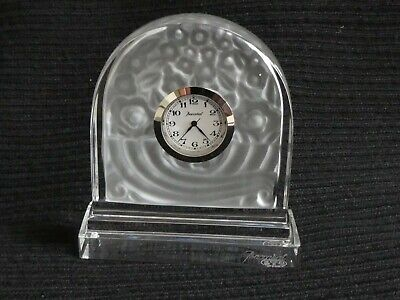 Beautiful Baccarat French Clear & Frosted Crystal Glass Minature Mantle Clock  • 249.99£