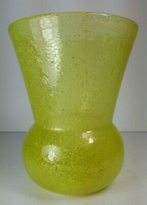 Retro Vintage Mid Century Whitefriars Style Yellow Crackle Glass Vase  • 18.50£