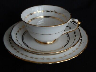 Tuscan ~ Vintage White And Gold Trio ~ Cup & Saucer / Side Plate ~ 2 Avail • 7£