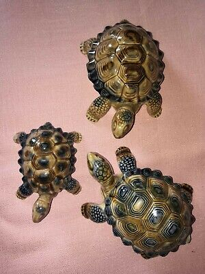 Wade Porcelain Pottery China Set 3 Tortoise Turtle Trinket Collectable Ornament  • 25£