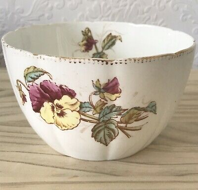 Large Antique Porcelain Pansy Sugar Bowl Transfer Floral Design Kitchen C1900 • 8£