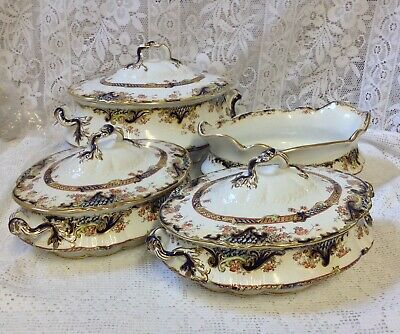 C1890s George Jones & Sons Crescent Pottery Staffordshire Tureens & Lids • 95£