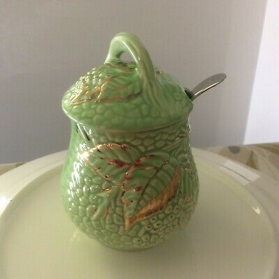 WADE| EARLY 1950s|JAM/SAUCE POT WITH LID & SPOON|EMERALD GOLD DESIGN • 11.99£