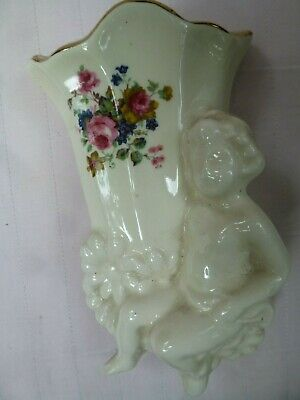 Cherub Floral Wall Pocket Marlyeigh Pottery Handcrafted In England • 6£