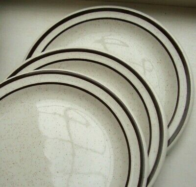3x Maddock Hotelware 17cm (6.5 ) Side Bread Plates, Brown Band, Speckled • 4£