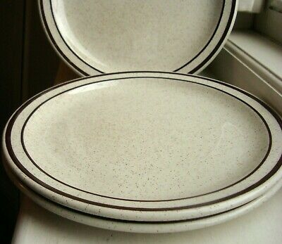 3x Maddock Hotelware (England) 22.5cm (9 ) Plates, Brown Band, Speckled • 6.20£