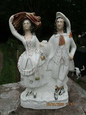 Large Victorian Staffordshire Flatback.Couple At Harvest Time  £10 • 5£
