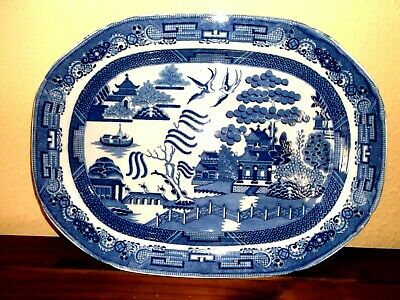 Antique Large Willow Meat /turkey /serving Platter 19.5 Inches • 30£