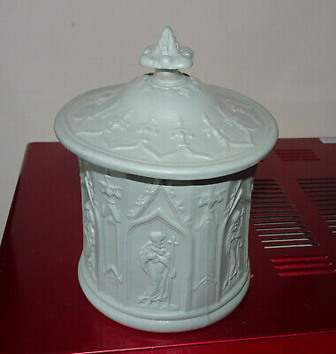 Storage Pot Lidded  With Glazed Inner Patterned With Bibical Scene    • 2.99£