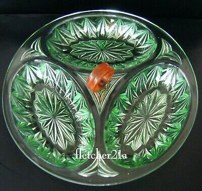 Davidson Art Glassware Green Glass Cocktail Serving Dish 3 Sections • 2.99£