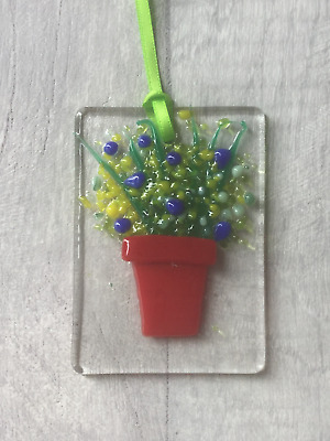 Blue & Yellow Flowers, Fused Glass, Sun Catcher, Light Catcher, Hanging • 4£