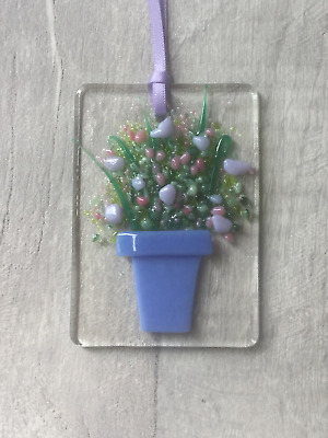 Pink & Lilac Flowers, Fused Glass, Sun Catcher, Light Catcher, Hanging • 4£