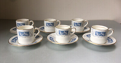 Set 6x Vintage Coalport Revelry Bone China Coffee Cans / Cups & Saucers Putti • 24£