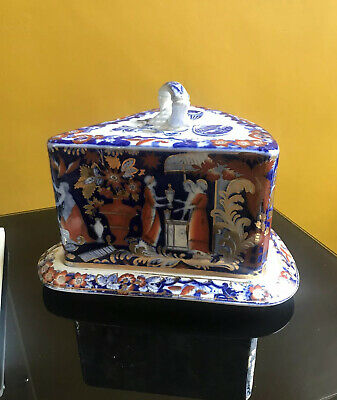 Beautiful Victorian Staffordshire Deep Flow Blue & Polychrome Wedge Cheese Dish • 225£