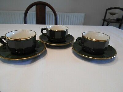Three Apilco Green /gold Breakfast Cups And Saucers • 8£