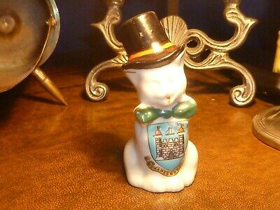 Mother Shipton Crested China Cat With Top Hat And Bow. Crest Of Knaresborough • 3£