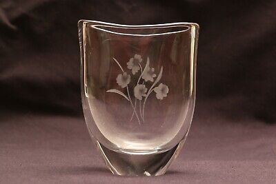Vintage Orrefors Engraved Art Glass Vase With Flowers By Sven Palmquist • 19.90£