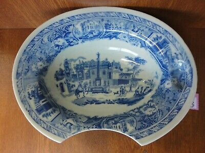 Antique / Vintage Flow Blue Ironstone Victoria Ware Razor Shaving / Barbers Bowl • 24.95£