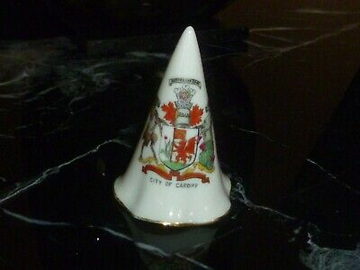 Carlton Crested China Conical Candle Snuffer. Crest Of City Of Cardiff • 4£
