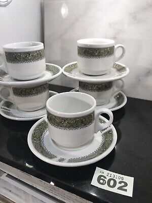 10pc Royal Doulton Steelite Hotelware Cups & Saucers Avocado Olive Green • 12.50£
