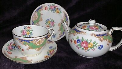Hammersley Tea For One Teapot, Cup, Saucer And Plate Green Floral • 16£