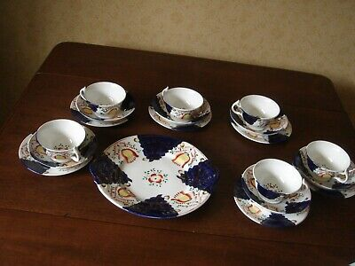Antique Victorian Gaudy Welsh China Tea Set For 6 Cups Saucers Plates • 75£