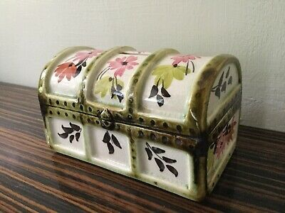 Vintage Babbacombe Torquay Pottery Flowered Trunk Chest Money Box Bank • 7.50£