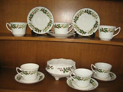 Crown Sutherland 6 Cups 6 Saucers Unbranded Footed Bowl Holly Mistletoe • 7.50£