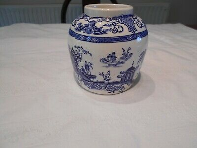 Vintage Blue And White Ginger Jar  No Lid  Willow Pattern Type A/f • 2£