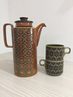 Hornsea Coffee Pot Jug Pottery With 2 Hornsea Cups. • 17.90£