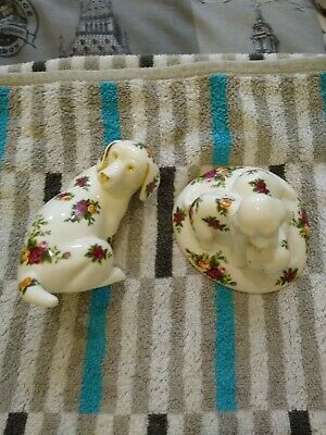 Royal Albert Old Country Roses. Dog & Puppies. Both In Excellent Condition. • 10.50£