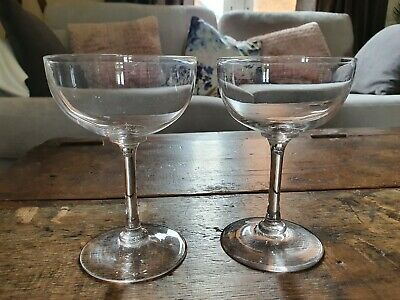 Pair Of Victorian/Edwardian Hand Blown Cut Crystal Stemmed Champagne Saucers • 19.99£