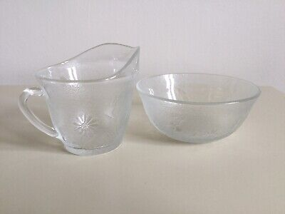 Vintage French Frosted Glass Milk Bowl And Sugar Basin • 5£