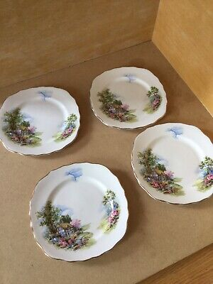 Royal Vale Bone China Country Cottage Garden Tea / Side Plates X4 • 14.99£