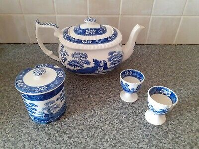 Copeland  Spode's Tower Antique Blue And White Teapot, Egg Cups And Sugar Pot • 35£