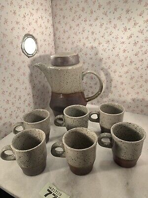 7pc Glazed Pottery Coffee Set 6x Cups & Coffee Pot Made In Wales 🏴 • 22.50£