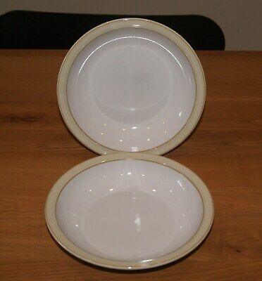 2 Denby Linen 21cm Rimmed Soup / Cereal Bowls. BNWT. 4 Sets Available • 22£