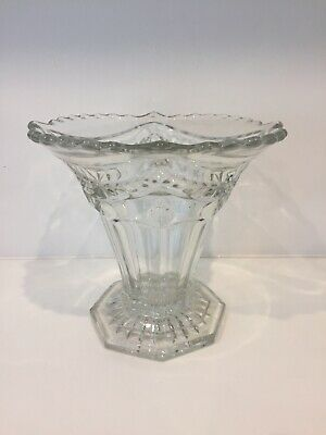 Very Old Vintage Large Cut Glass Unique Shaped Vase 18cm Tall • 14.99£