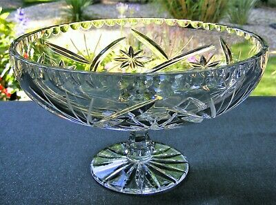 Lovely Cut Glass Crystal Footed 8  Fruit / Sweet Bowl • 25£