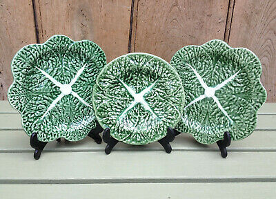 A Set Of Three Vintage Bordalo Pinheiro Cabbage Leaf Plates Made In Portugal • 16.50£