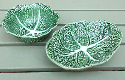 Two Vintage Bordalo Pinheiro Cabbage Leaf Design Bowls - Made In Portugal • 8£