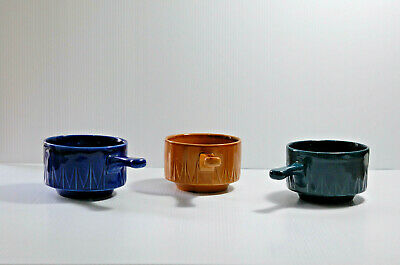 Vintage Set Of 3 Multi-Coloured TAMS Soup Bowls With Handles Made In England • 20£