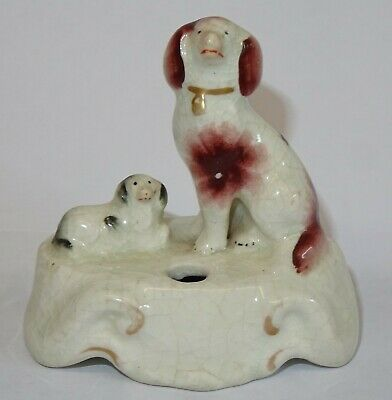 Antique Small Staffordshire Dogs Pottery Penholder. • 24.99£
