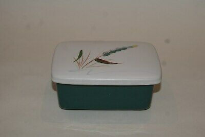 Original Vintage Denby Green Wheat Footed Butter Dish With Lid • 12£