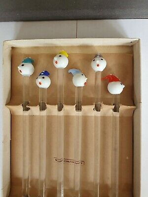 Vintage Glass Clown Cocktail Stirrer/Swizzle Stick Boxed Set Of 6 • 34.99£